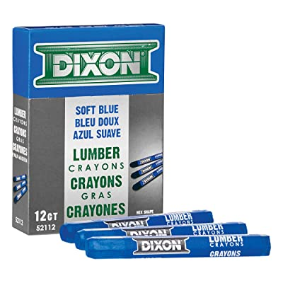 "Dixon Industrial Lumber Marking Crayons, 4.5"" x 1/2"" Hex, Soft-Blue, 12-Pack (52112): Office Products"
