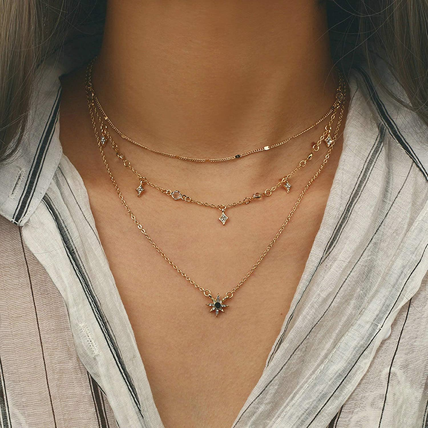 Gnzoe Jewelry Women Stainless Steel Necklace Pearl White Women Chain 45+5CM