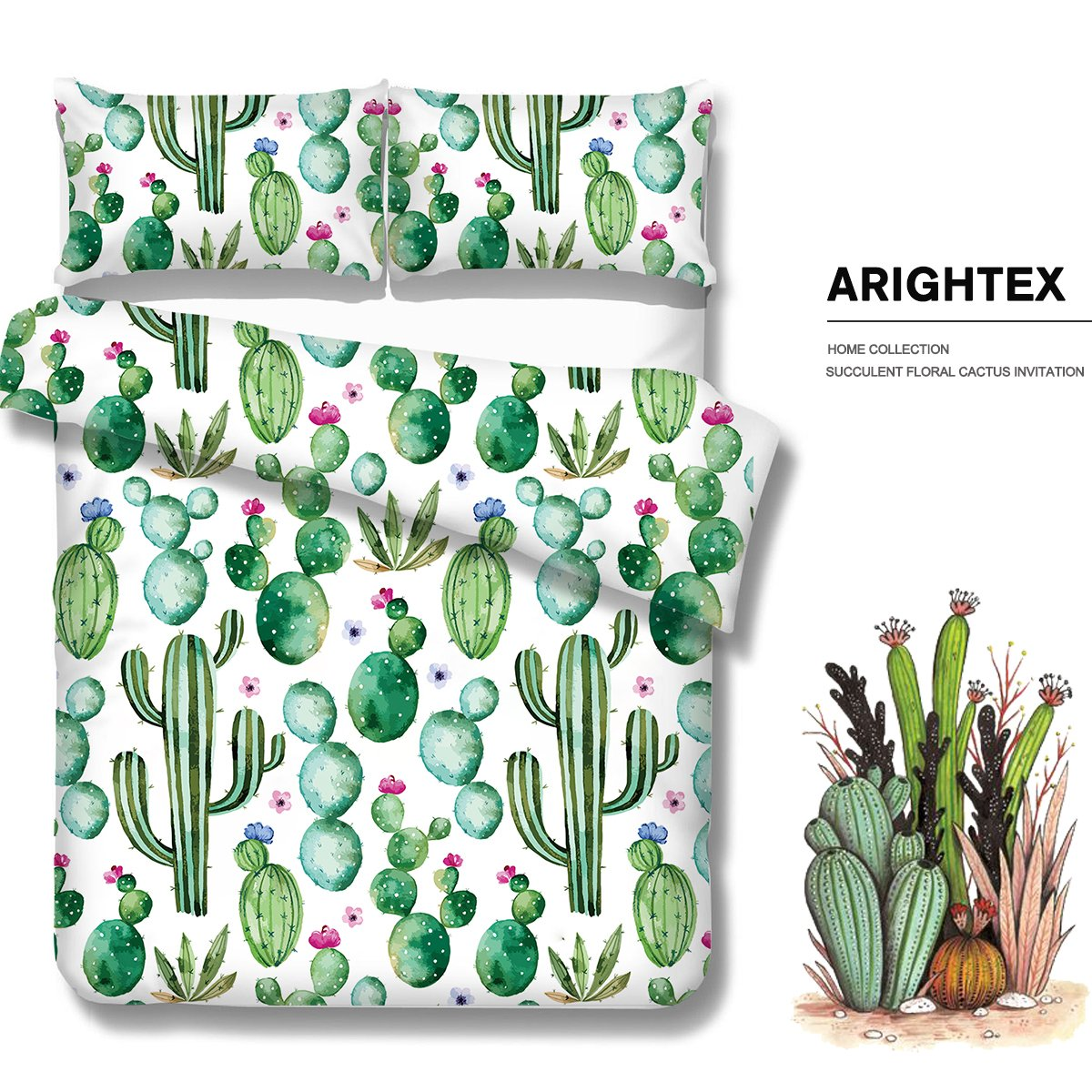 Queen Arightex Cactus Bedding Cactus Duvet Cover Summer Plant Bed Set Nature Duvet Cover Set Bright Dorm Bedding Kingtex