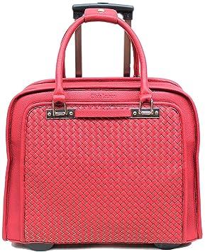 f8310e7a08c04 Damen Aktenkoffer mit Rollen Business Trolley Rot Bowatex  Amazon.de ...