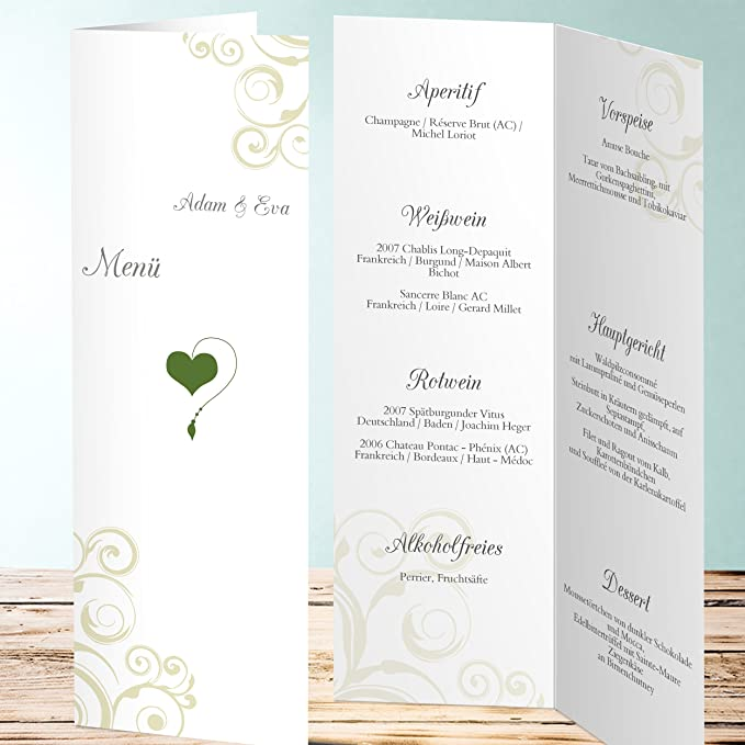 Menükarte Goldene Hochzeit Herzblatt 20 Karten Vertikale