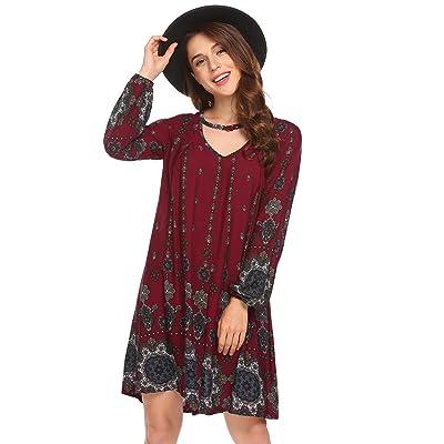 Beyove Women's Casual Floral Print V Neck Long Puff Sleeve A-Line Swing Beach Loose Tunic Dress