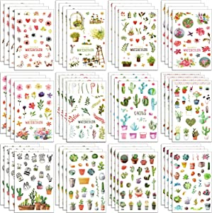 Chuangdi 48 Sheets Cactus Stickers Plant Flower Decorative Stickers Journal Planners Stickers for Party Holiday Supplies