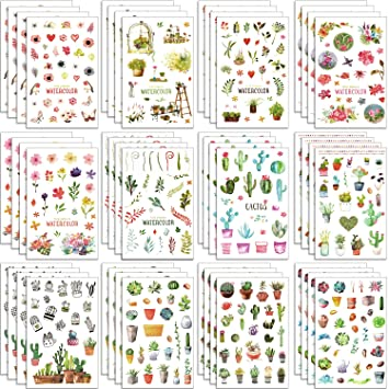 Amazon.com: Chuangdi 48 hojas Cactus pegatinas de flores de ...
