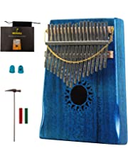 Mahogany Tone Wood Kalimba Professional 17 Keys Acoustic Finger Thumb Piano Music Gift(Ocean Blue)