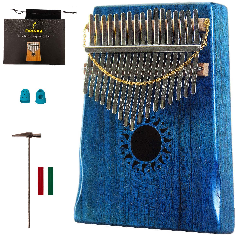 Moozica Mahogany Tone Wood Kalimba, Professional 17 Keys Acoustic Finger Thumb Piano Music Gift(Ocean Blue) by MOOZICA