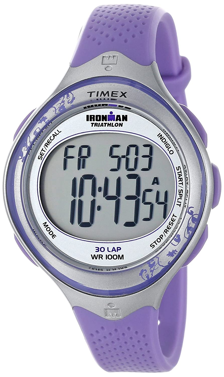 380092b43 Amazon.com: Timex Women's T5K602 Ironman Classic 30 Mid-Size  Blue/Silver-Tone Resin Strap Watch: Timex: Watches