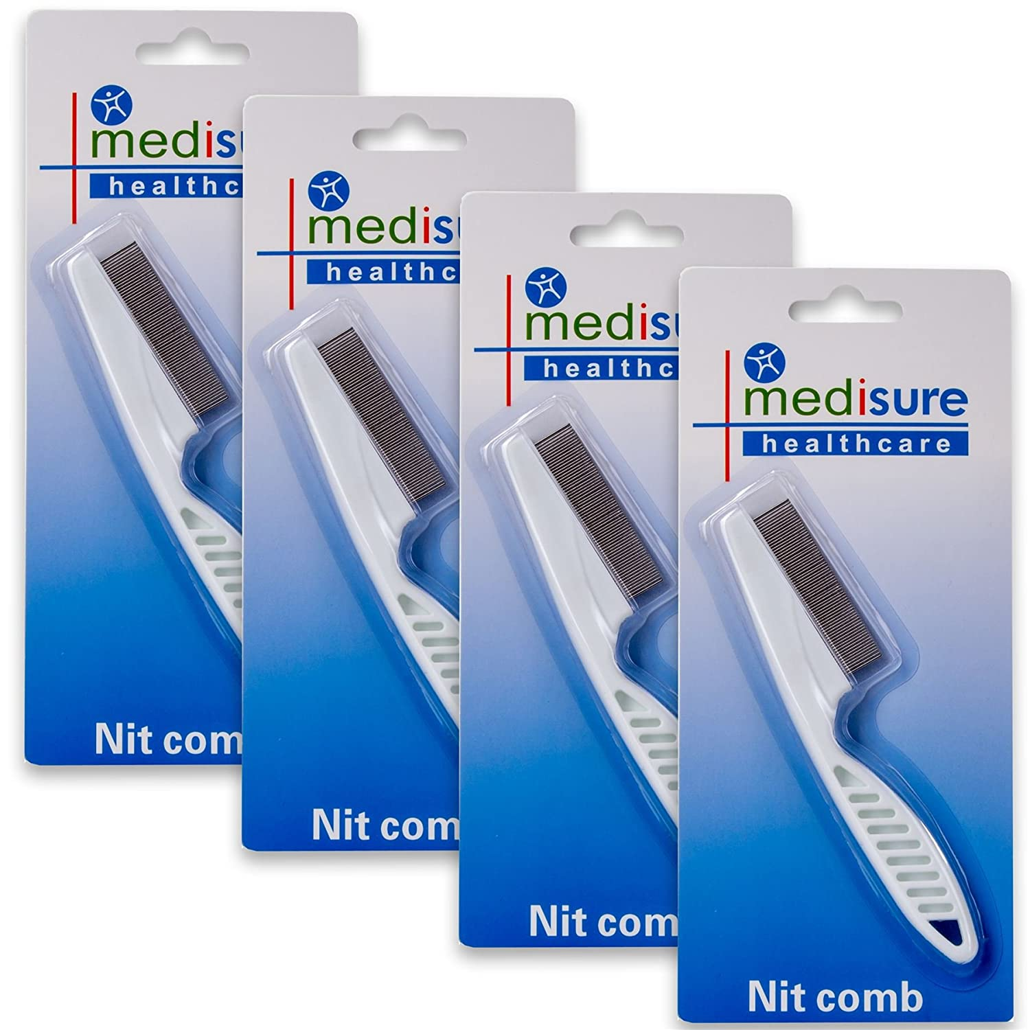 4x Extra Fine Nit Hair Combs - Head Lice/Eggs & Larvae Removal White Hinge