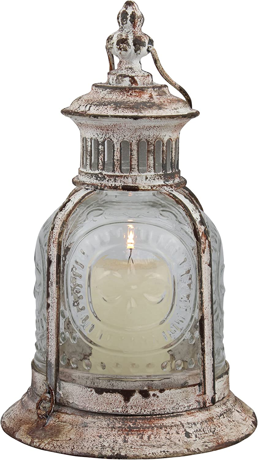 Stonebriar Antique White Metal Candle Lantern, Decoration for Birthday Parties, a Rustic Wedding Centerpiece, or Create a Relaxing Spa Setting, for Indoor or Outdoor Use: Home & Kitchen
