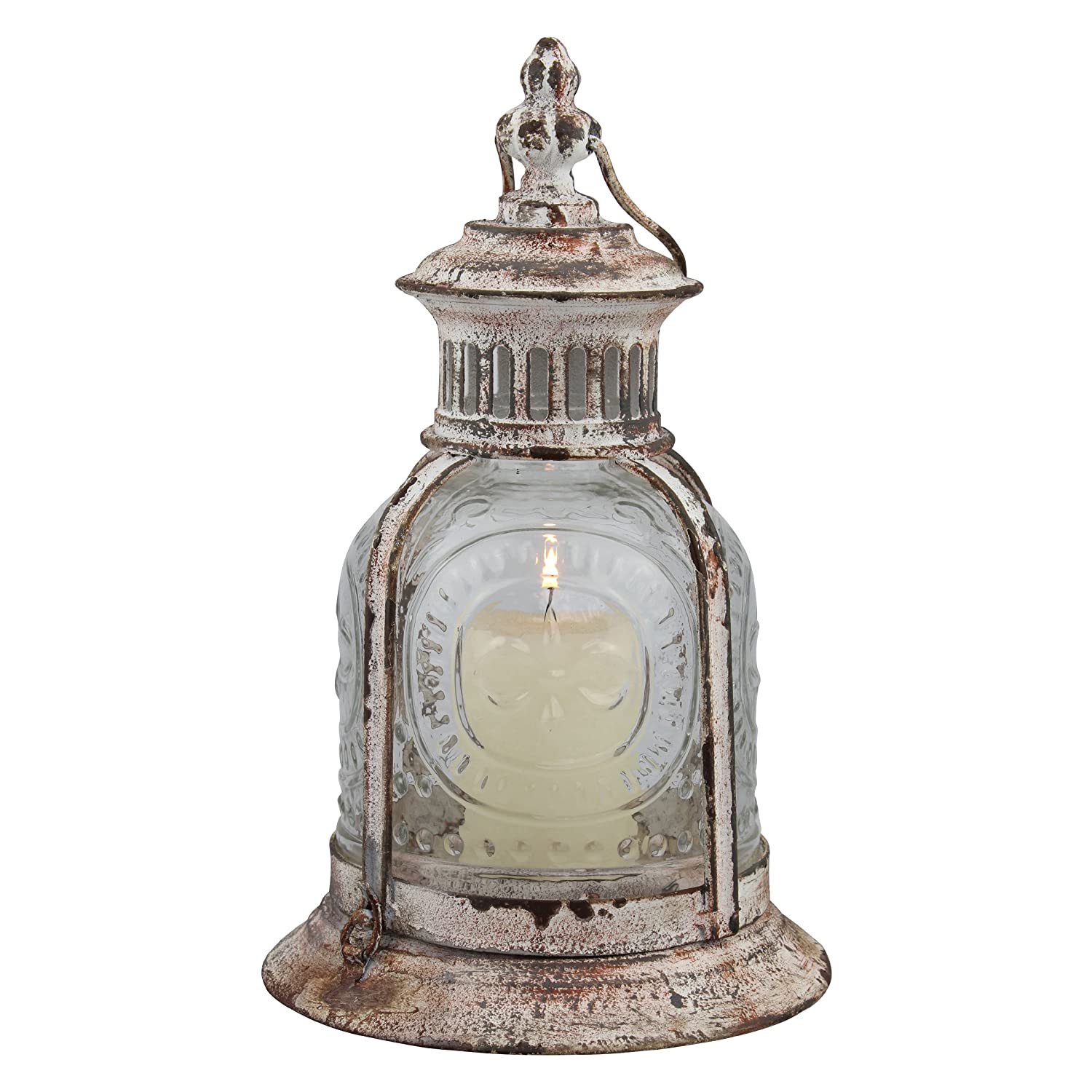 Stonebriar Antique White Metal Candle Lantern, Use As Decoration for Birthday Parties, a Rustic Wedding Centerpiece, or Create a Relaxing Spa Setting, For Indoor or Outdoor Use CKK Home Décor SB-5021A