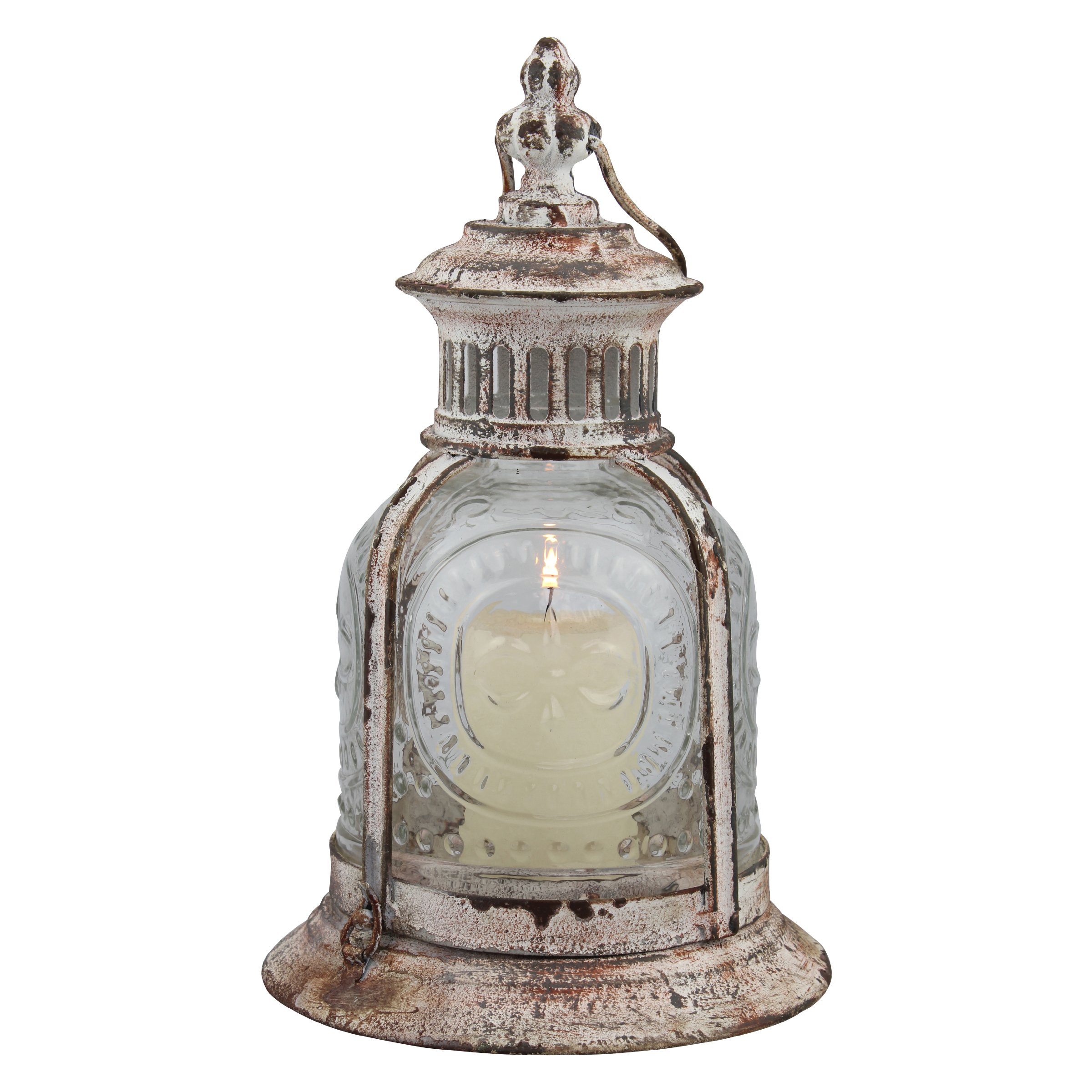 Stonebriar Antique White Metal Candle Lantern, Decoration for Birthday Parties, a Rustic Wedding Centerpiece, or Create a Relaxing Spa Setting, for Indoor or Outdoor Use by Stonebriar
