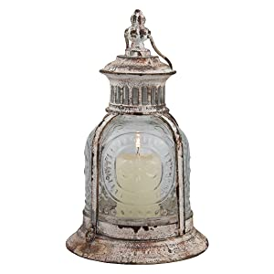 Stonebriar Antique Candle Lantern Off white
