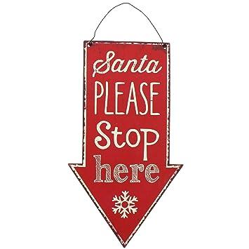 Christmas Arrow.Christmas Shop Santa Stop Here Arrow Sign One Size Red