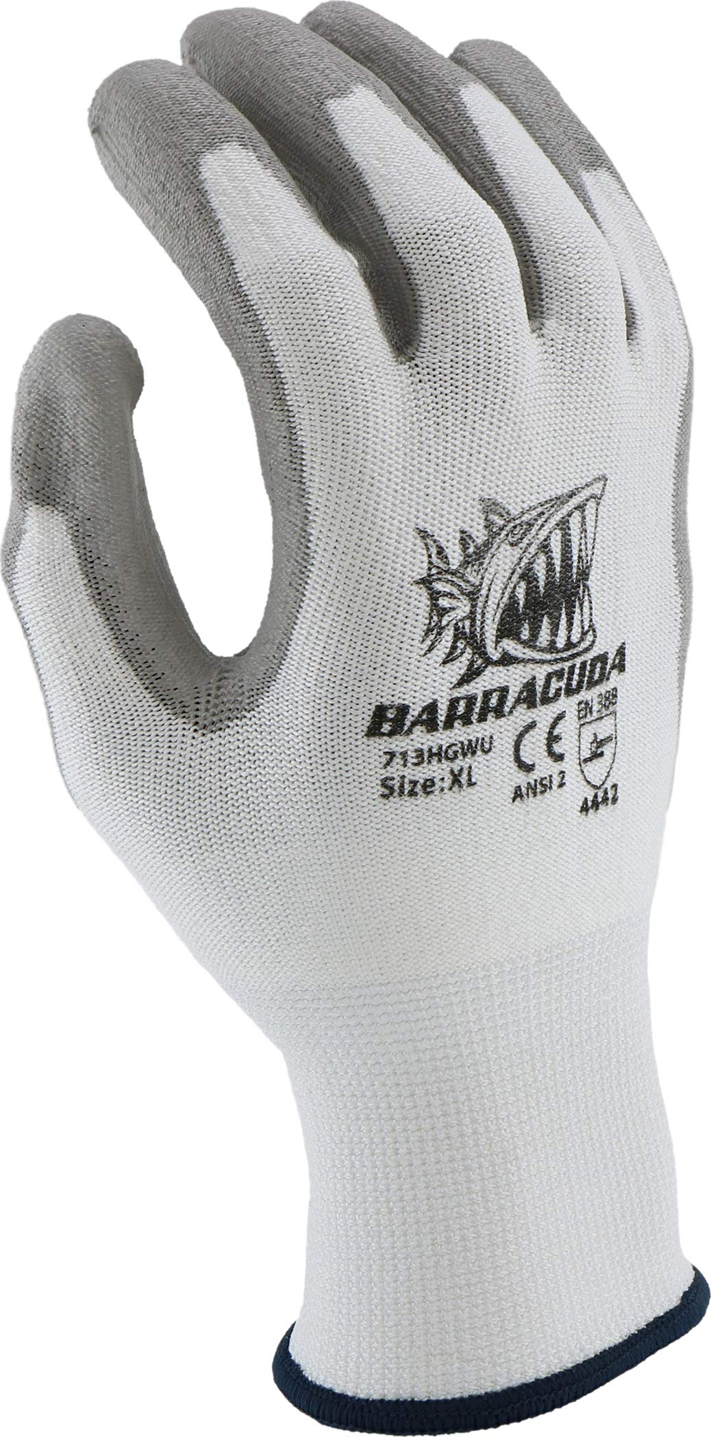West Chester 713HGWU XL Barracuda White HPPE Shell with Grey PU Dip Cut Protection Gloves, XL (Pack of 12) by West Chester (Image #5)