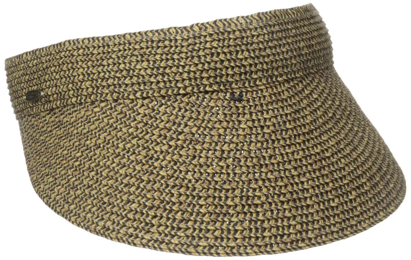 Scala Ladies Sun Visor Wide Brim Straw Boating Hat 3.5'' Lightweight Comfortable Straw Visor for a Sunny Day by SCALA