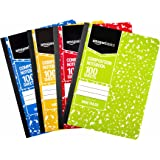 AmazonBasics Wide Ruled Composition Notebook, 100 Sheet, Assorted Marble Colors, 4-Pack