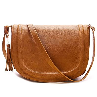 a4139068ef09 Crossbody Bags for Women, Purses and Handbags Flap Saddle Bag Multiple  Pockets with Tassel