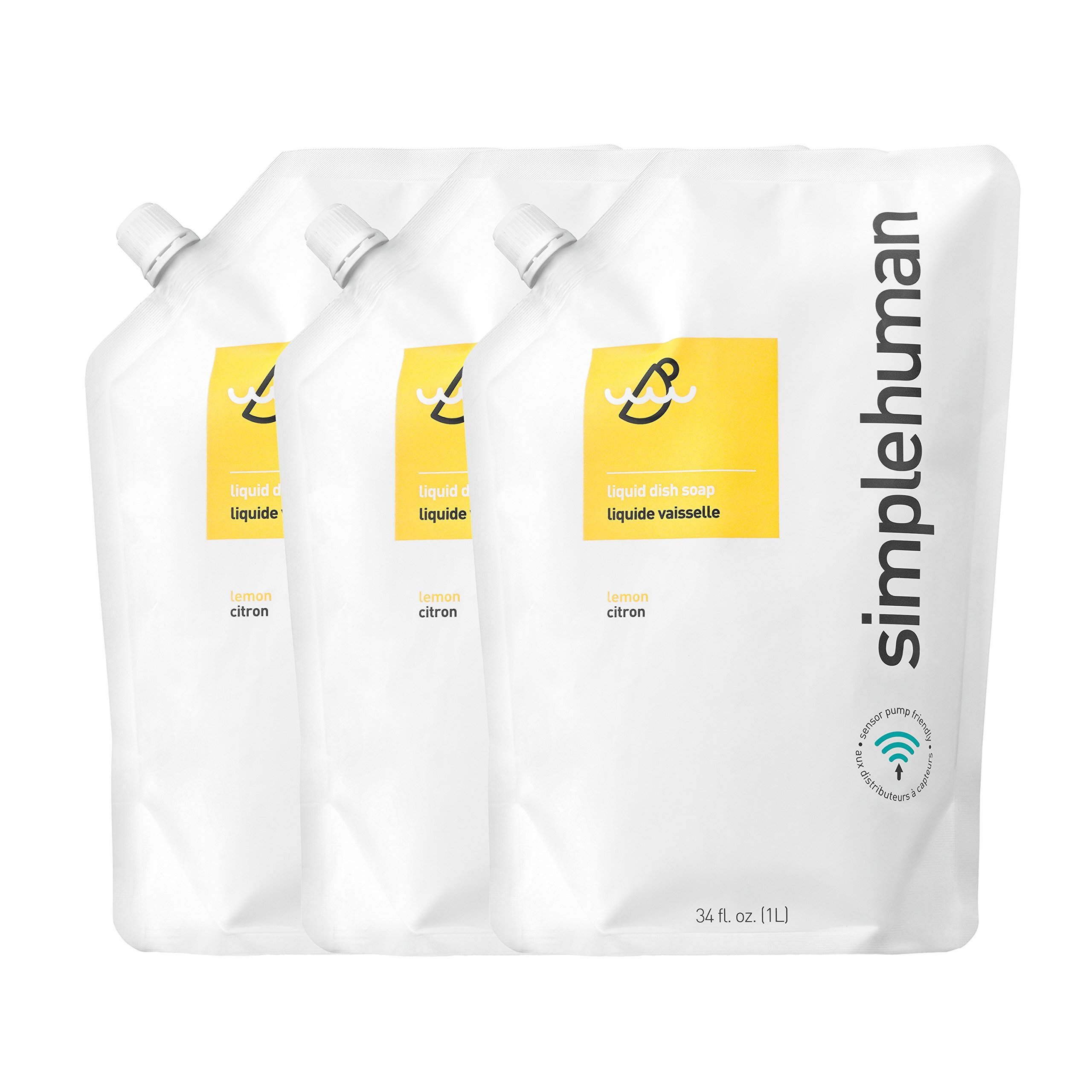 simplehuman Lemon Liquid Dish Soap 34 fl. oz. Refill Pouch (pack of 3) by simplehuman