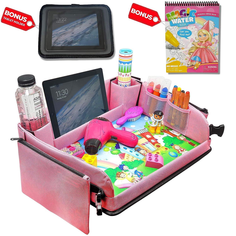 Kids Car Seat Travel Tray (Pink) + Bonus Water Coloring Book + Bonus Car Headrest Tablet Holder |Activity & Stroller Lap Tray
