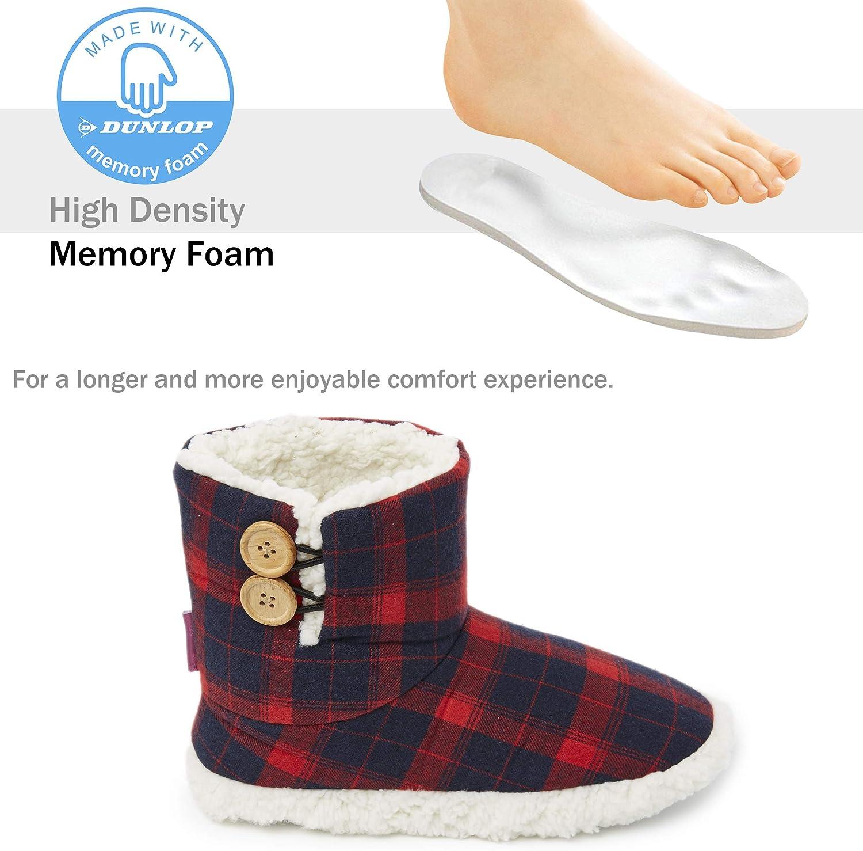 Chaussons Montant Boots Femme Int/érieur Ext/érieur Pantoufles Chaudes Semelles Antid/érapantes M/émoire de Forme Cadeau Femme Dunlop Chausson Femmes Bottines Fourr/ées Hiver