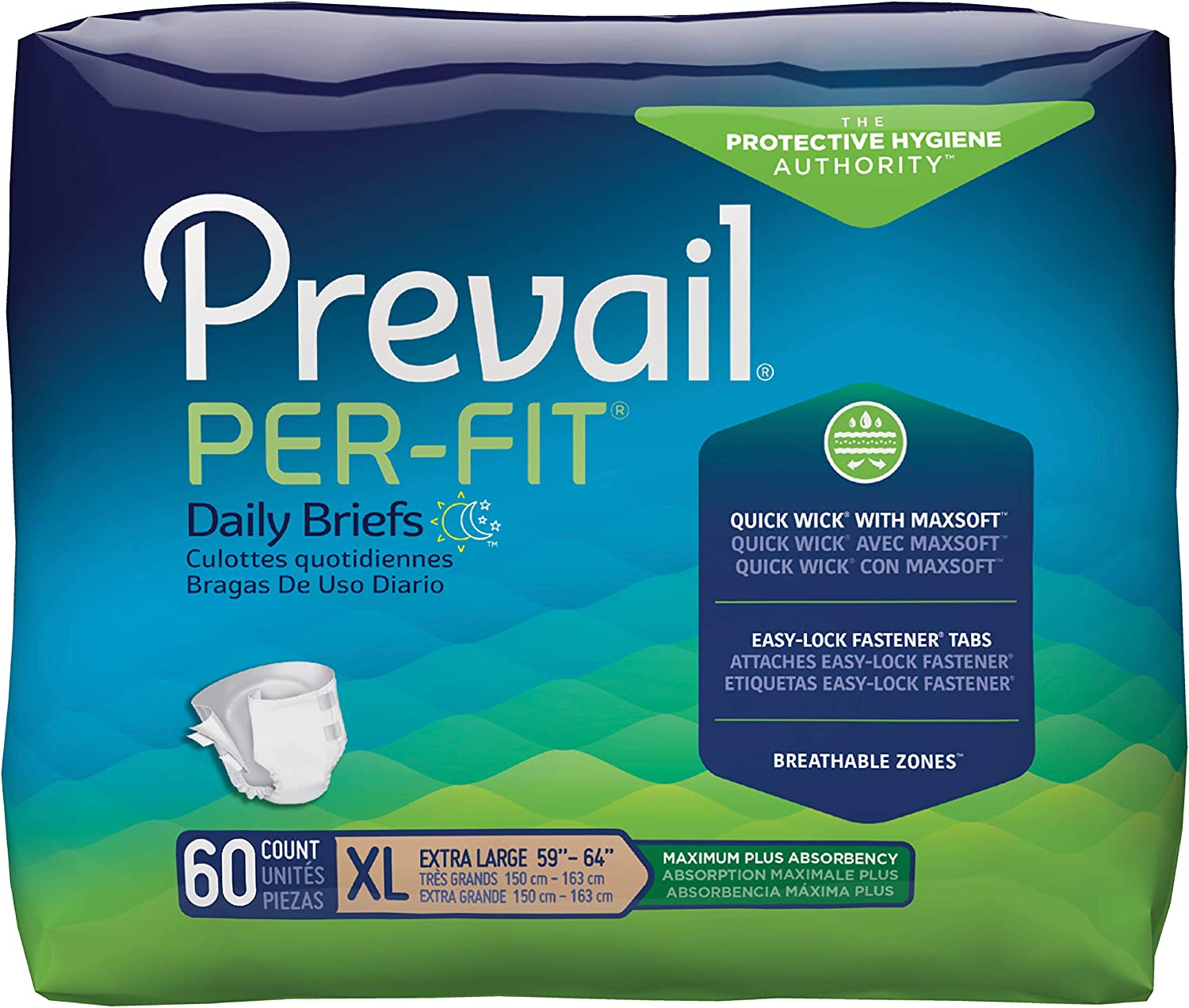 Prevail Per-Fit Protective Underwear, Maximum Plus Absorbency, Size X-Large, 15 Count (Pack of 4 (60 Count))