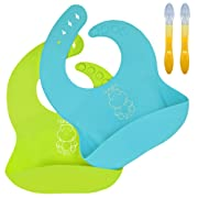 IE.CARE Silicone Bibs with 2 Silicone Feeding Spoons - Turqoise Blue and Lime Green (Set of 2)