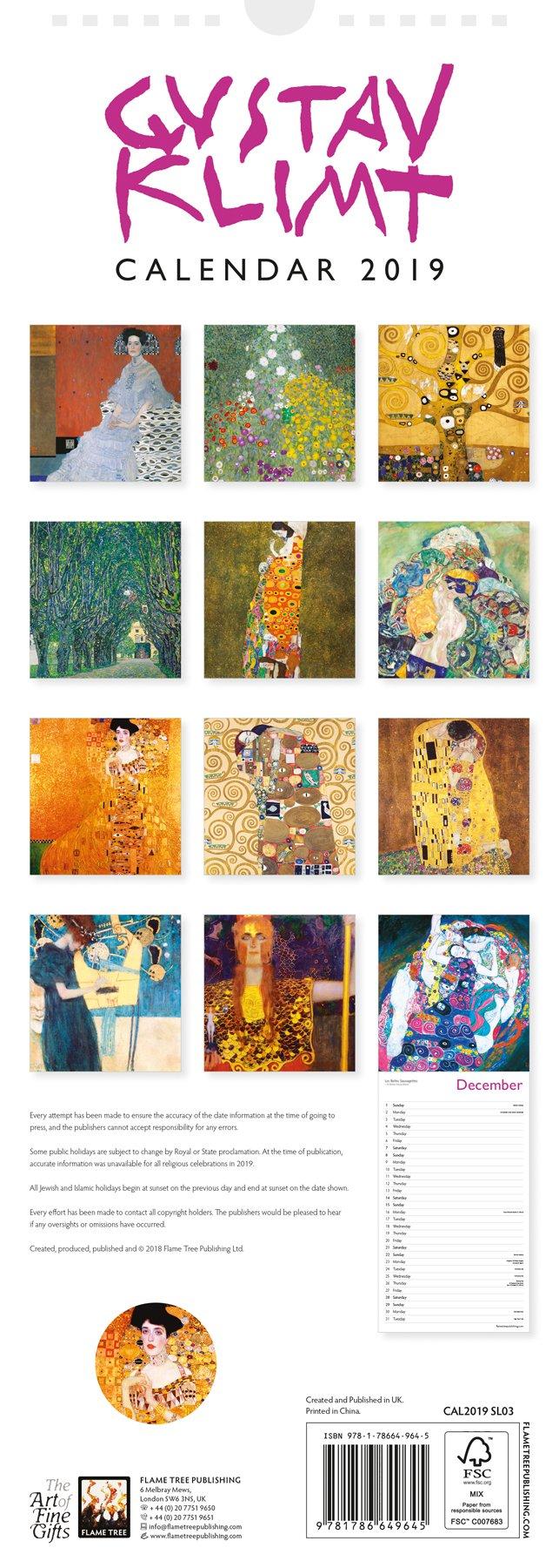 88b5fd0dcd2 Gustav Klimt slim calendar 2019 (Art Calendar)  Amazon.co.uk  Flame Tree  Studio  9781786649645  Books
