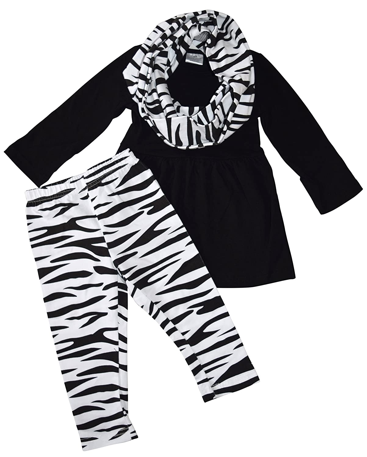 Unique Baby Girls 3 Piece Matching Animal Print Legging Set