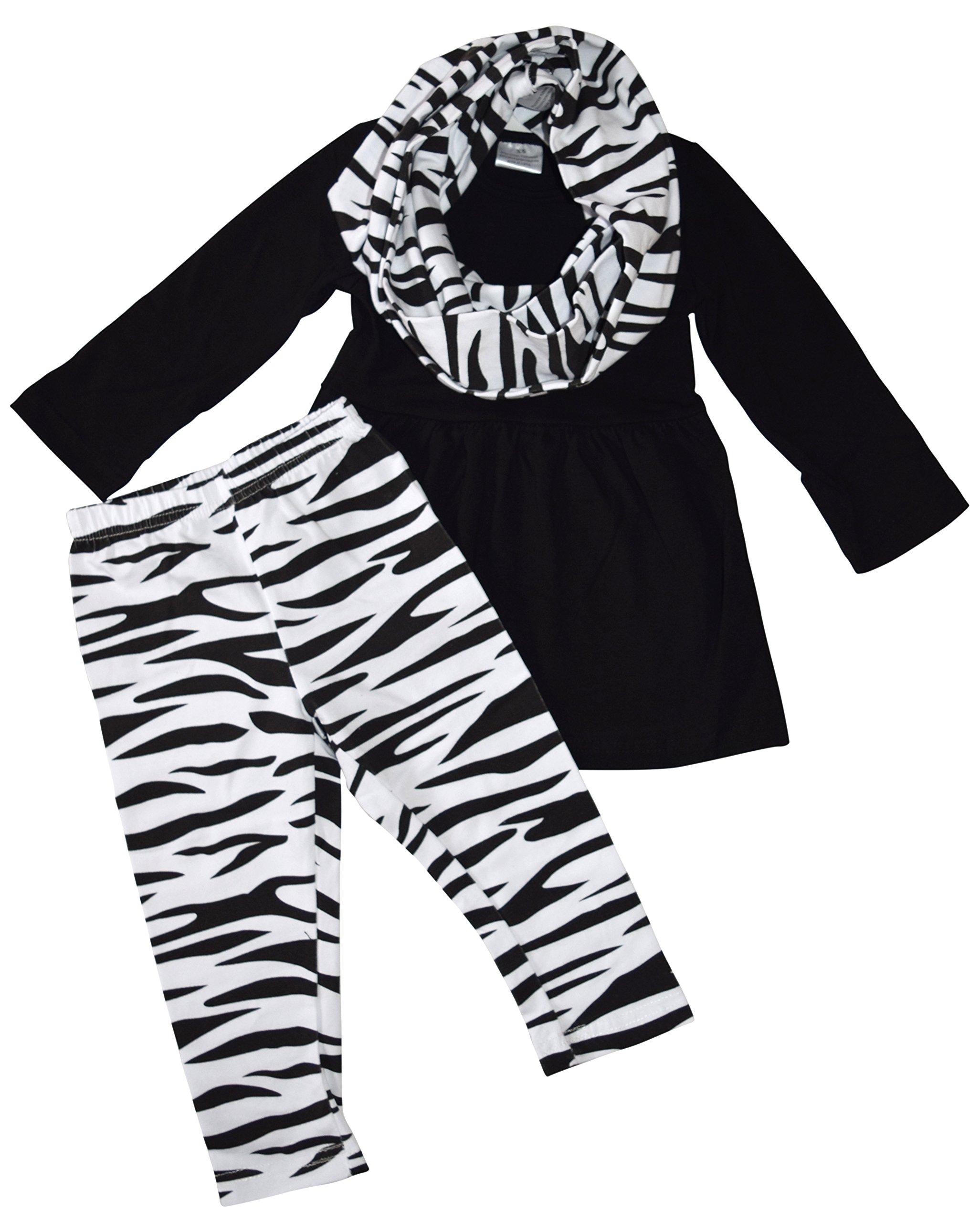 Unique Baby Girls 3 Piece Matching Zebra Print Legging Set (3T/S) Black