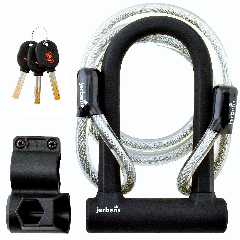 Jerbens Antivol Vélo U - Cadenas en U à clé avec Câble de Sécurité 1.20 m et Support de Fixation sur Cadre - Modèle Efficace et Solide en Acier - Compatible pour Vélo Enfant et Vélo Électrique product image