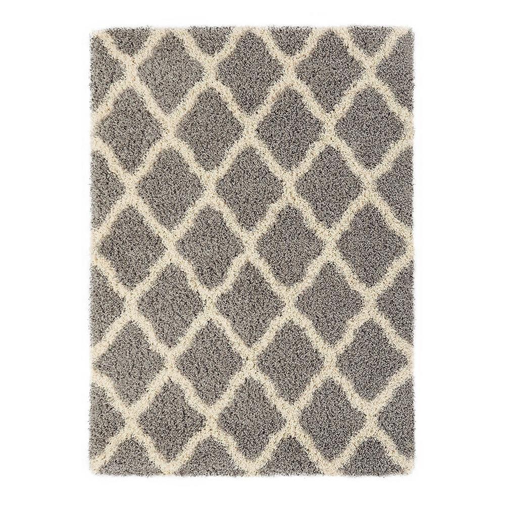 Sweet Home Stores Cozy Shag Collection Moroccan Trellis Design Shag Rug Contemporary Living & Bedroom Soft Shaggy Area Rug, Grey & Cream, 60'' L x 84'' W