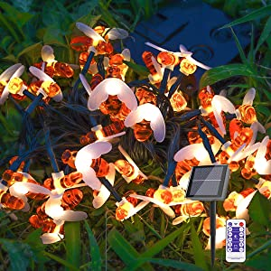 Solar Powered Bee String Lights Outdoor Waterproof, 50 LED Timer and Remote Honeybee,Decorative Fairy String Lights for Garden Patio Thanksgiving Day Christmas Party Wedding Lawn Yard Camping Fence
