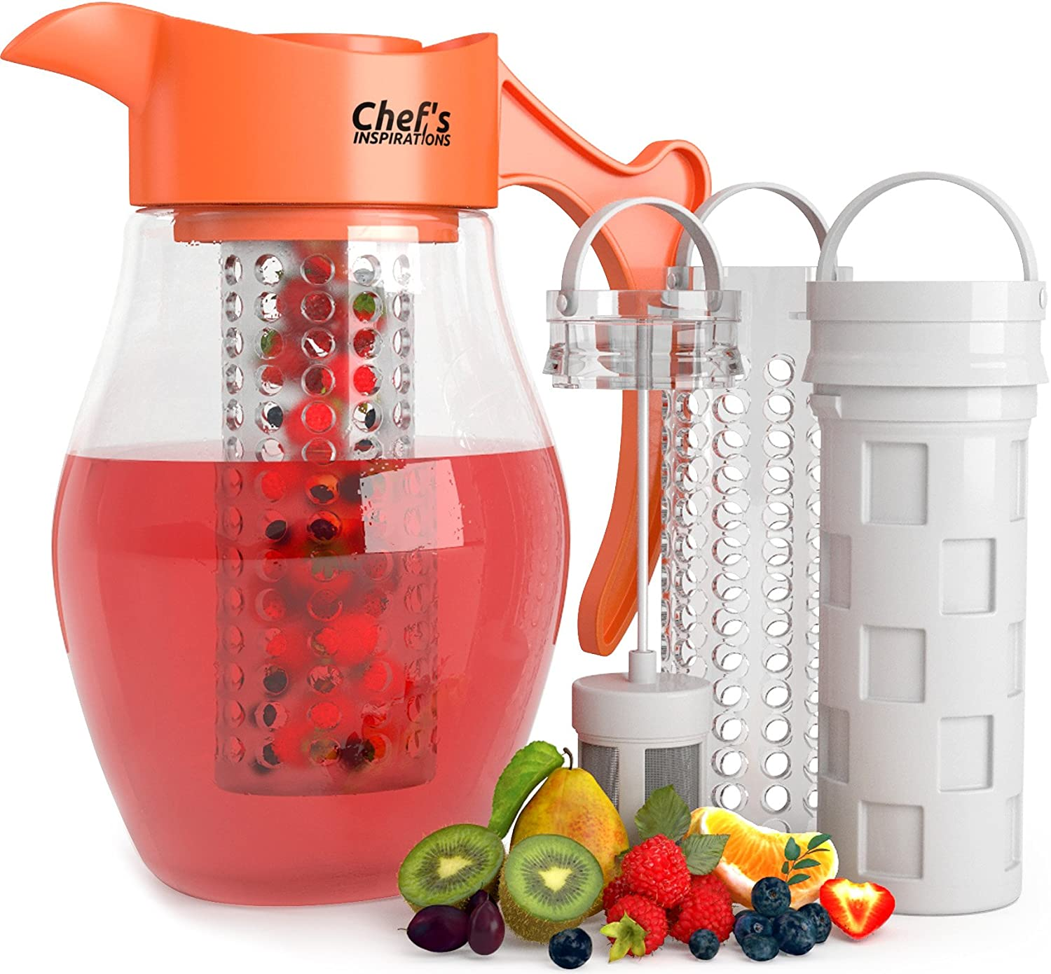 Chef s INSPIRATIONS 3 Core Infusion Water Pitcher. 3 Quart 2.8 Liters . Best For Flavored Infused Tea, Fruit or Herbs. Includes 3 Inserts for Fruit, Tea Ice. Bonus Infuser Recipe eBook.
