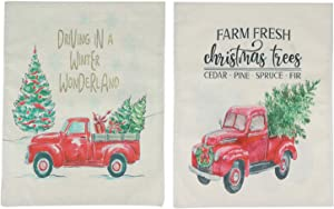 Wusteg Welcome Christmas Garden Flag Old Flower Truck Vintage Floral Pickup Small Yard Flags Double Sided Burlap Decorative Garden Banners for Porch Patio Farmhouse Decorative, 12x18 Inch