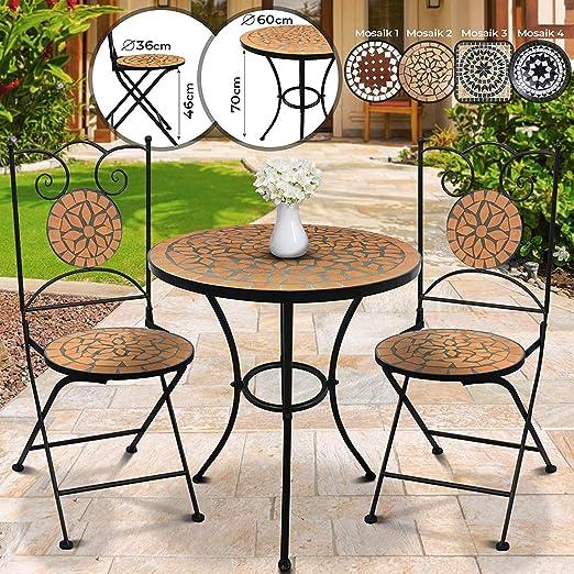 Marrone Nero da Balcone Set da Giardino Mosaico /Ø//A: 60x70cm 46cm Altezza Seduta + 2 Sedie Pieghevoli Tavolo Rotondo Mobili da Esterno