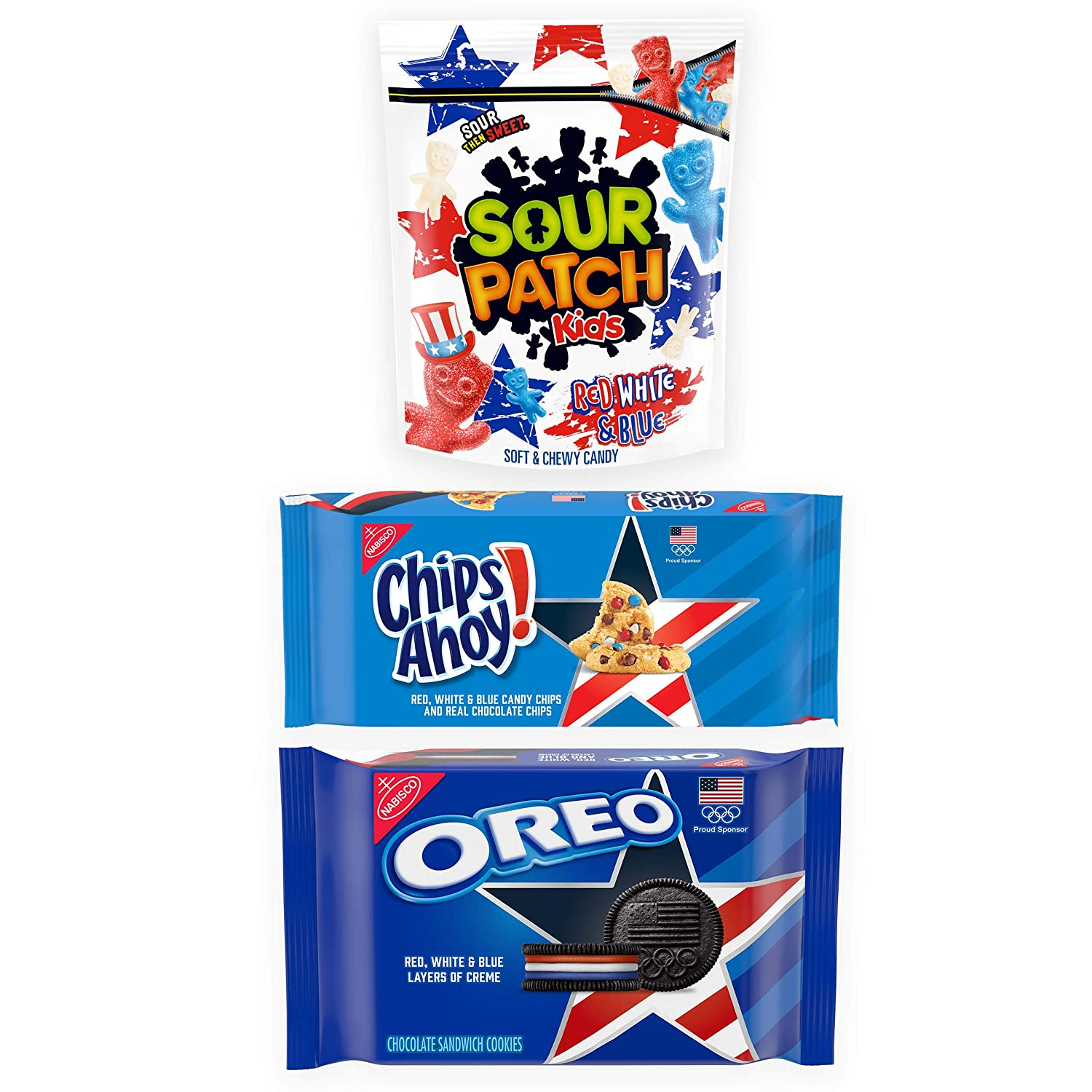 Team USA OREO Chocolate Sandwich Cookies, Team USA CHIPS AHOY! Chocolate Chip Cookies & Red, White & Blue SOUR PATCH KIDS Sweet & Sour Variety Pack, 3 Packs