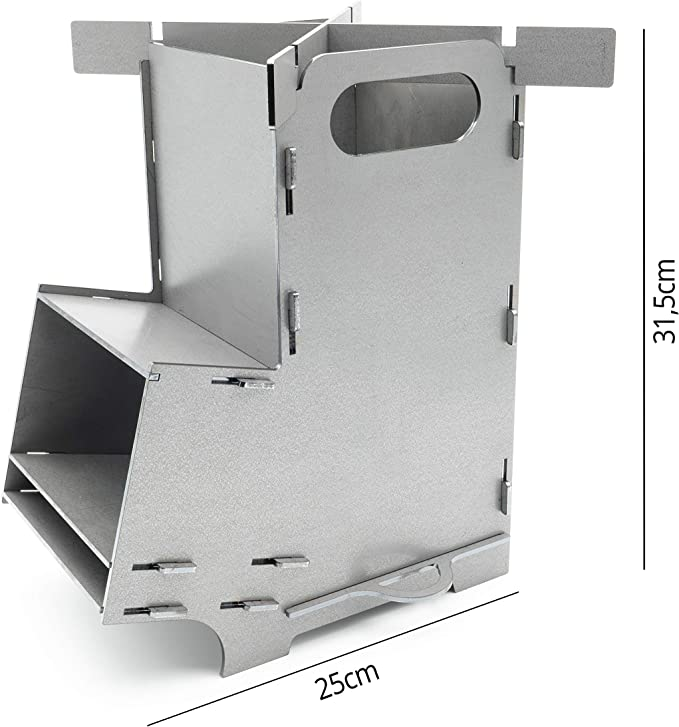 MaTaDa® - Horno de cohetes I Rocket Stove Outdoor - Sistema de ranuras de acero macizo de 3 mm para horno holandés, sartenes y mucho más