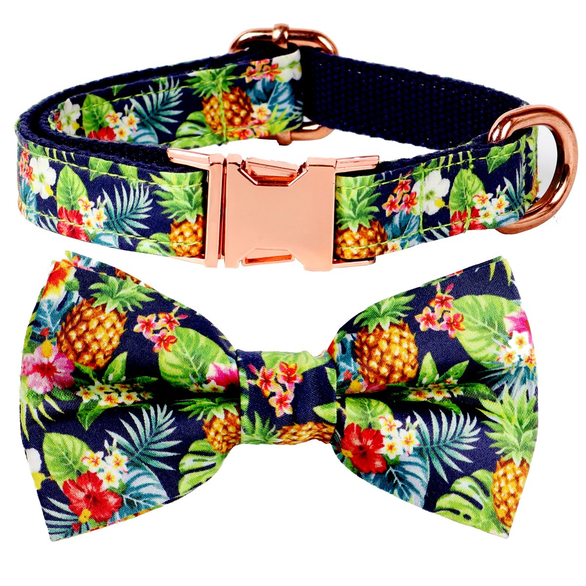 Csspet Pineapple Cat and Dog Collar Bow Tie, Detachable Bowtie, Adjustable Collar for XS Small Dog Cat