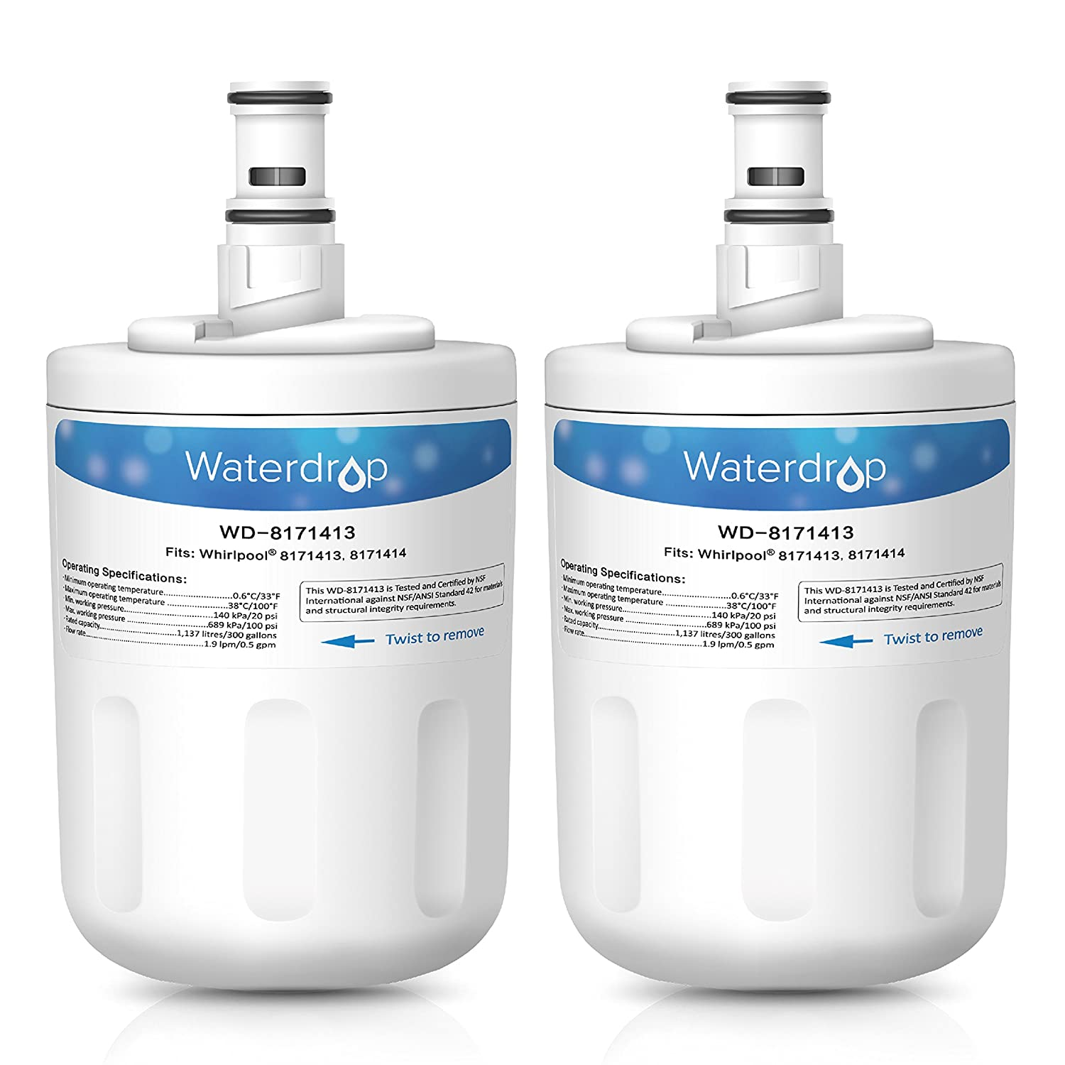 Waterdrop Refrigerator Water Filter, Compatible with Whirlpool 8171413, 8171414, EDR8D1, Kenmore 46-9002, Pack of 2