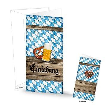 5 Stück Bayerisch Blau Weiß Kariert Einladung Klapp Karte