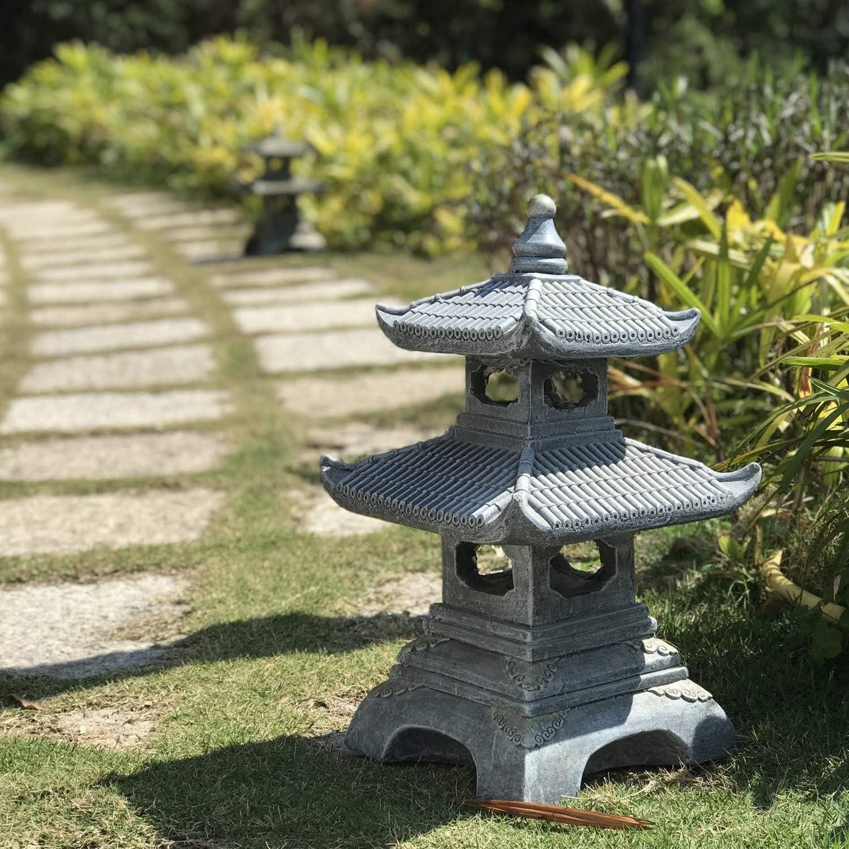 KMYX Al aire libre Decoración japonesa del paisaje del paisaje del jardín de las luces del jardín de la lámpara de piedra antiguo templo de Cuatro esquinas Linterna de piedra Óxido de