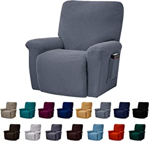 AlGaiety Stretch Recliner Slipcover Sofa Cover 4 Separate Pieces/1 Set Spandex Jacquard Fabric Furniture Protector Couch Cover with Elastic Bottom for Living Room(Recliner,Gray)