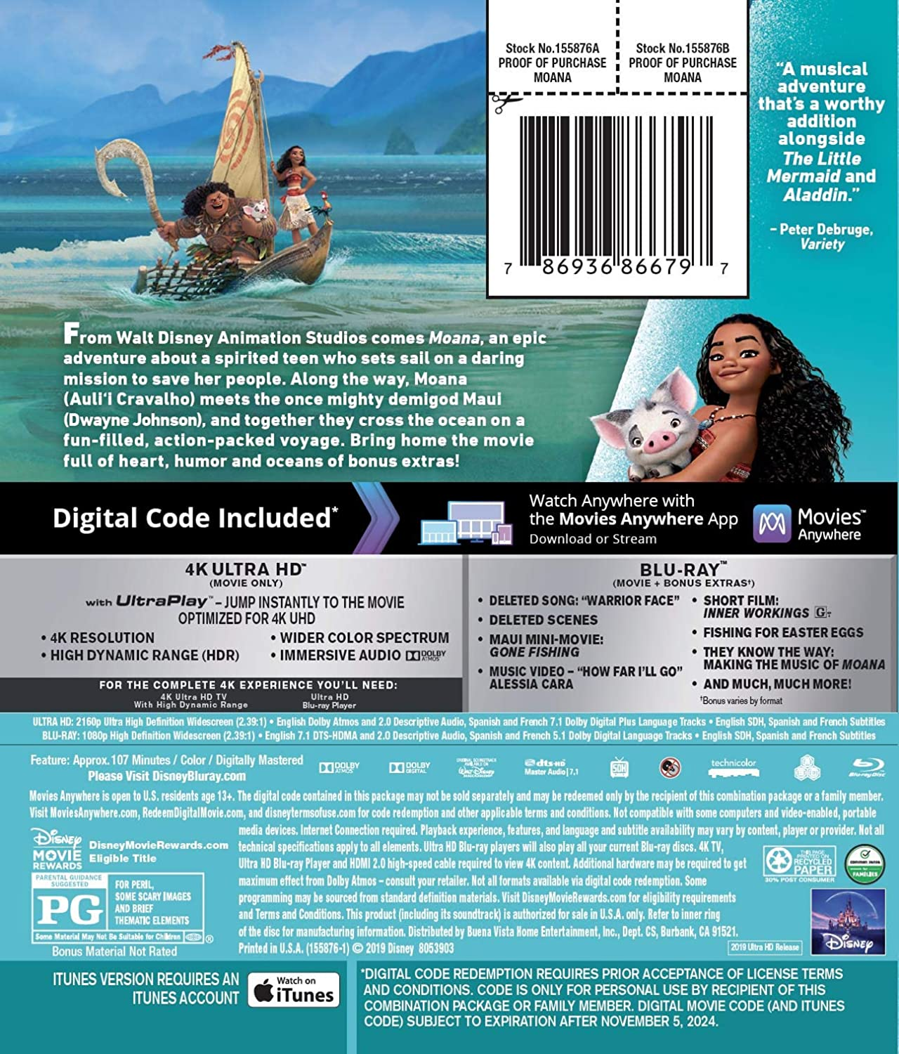 Rachel House Dwayne Johnson Moana Blu-Ray Aulii Cravalho