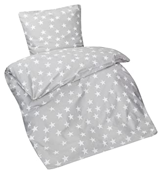 Aminata Kids Kinder Bettwäsche Set 135 X 200 Cm Stern E Motiv Star