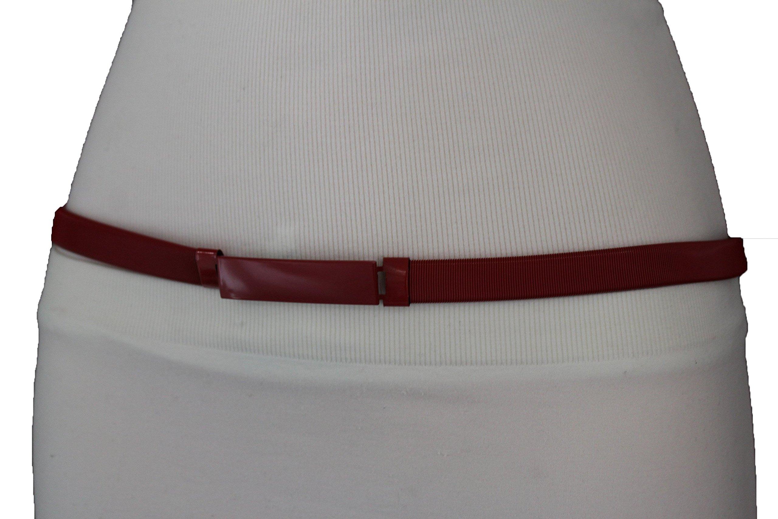 TFJ Women's Fashion Belt Hip Waist Elastic Metal Band Plus Size M L XL Red