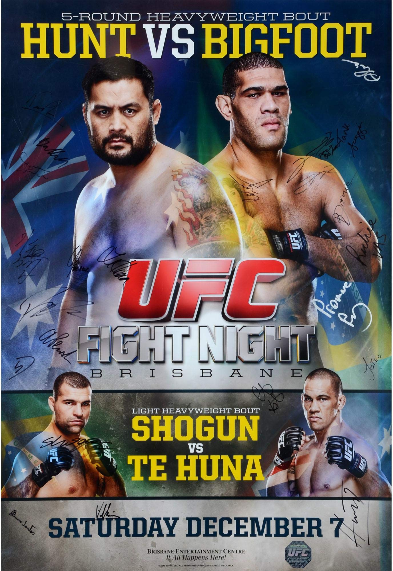 "UFC Fight Night 33 Hunt vs. Bigfoot Autographed 27"" x 39"" 22 Signature Event Poster Fanatics Authentic Certified"