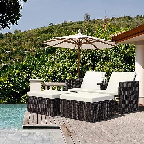 Tangkula 3 pcs Mimbre Chaise Lounge Piscina al Aire Libre ...