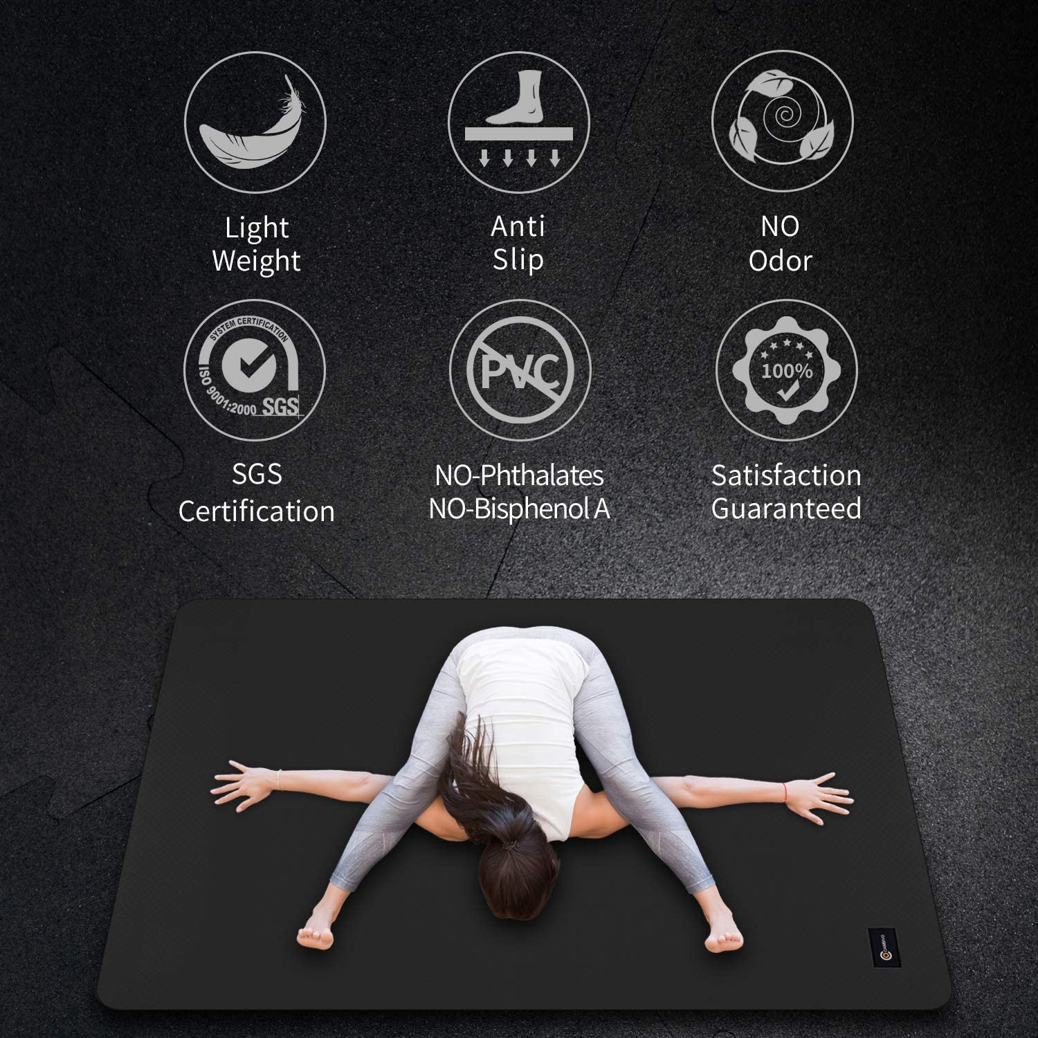 CAMBIVO Large Yoga Mat (6 x 4 x 6mm), Non-Slip Exercise Fitness Mat for Yoga, Pilates, Workout