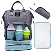 Elongdi Baby Diaper Bag, Large Capacity Travel Backpack Nappy Bags for Baby Care, Multi-Functional Diaper Backpack Baby Nappy Changing Bag Nursing Bag, Nappy Changing Mat & Carry Bag Included (Grey)