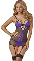 Seven Til Midnight Women's Strappy Lace and Mesh Chemise